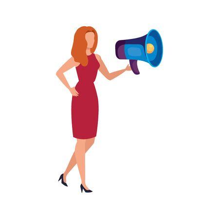 Woman and megaphone design, Amplifer speaker bullhorn announce speech message communication and sound theme Vector illustration