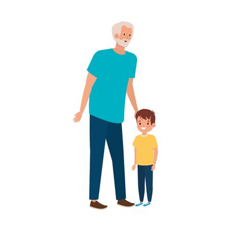grandfather with grandson avatar character vector illustration design