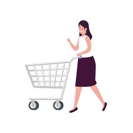 beautiful woman with cart shopping isolated icon vector illustration design