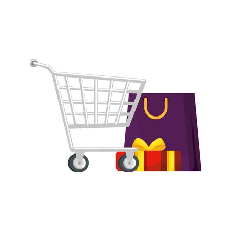 cart shopping with set icons vector illustration design
