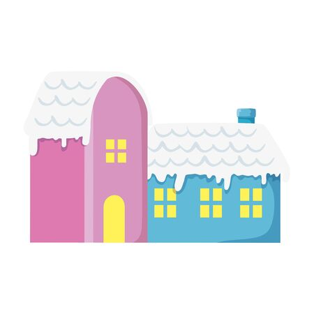 houses with snow isolated icon vector illustration design Standard-Bild - 136102014