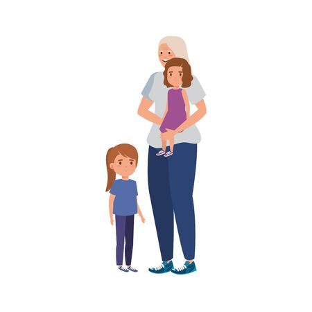 grandmother with granddaughters avatar character vector illustration design 일러스트