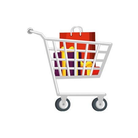 cart shopping with gift boxes and bag shopping vector illustration design