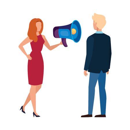 Woman man and megaphone design, Amplifer speaker bullhorn announce speech message communication and sound theme Vector illustration 向量圖像