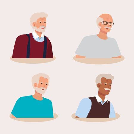 group of old men avatar character vector illustration design Imagens - 136127024