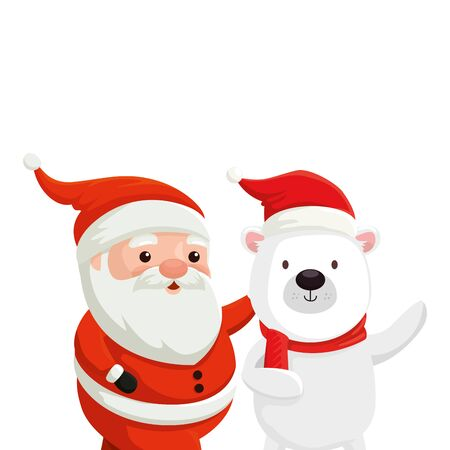 cute bear with santa claus characters merry christmas vector illustration design