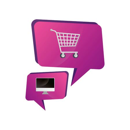 cart shopping with computer in speech bubbles vector illustration design
