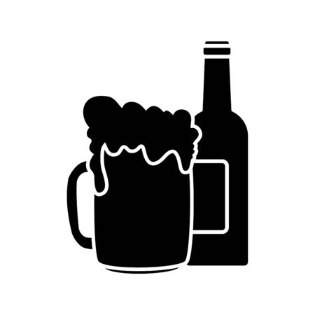 Beer bottle and mug design, Pub alcohol bar brewery drink ale and lager theme Vector illustration
