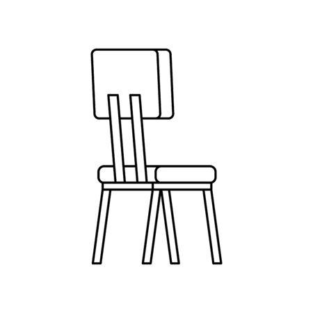wooden chair furniture line style icon vector illustration design Foto de archivo - 136157222