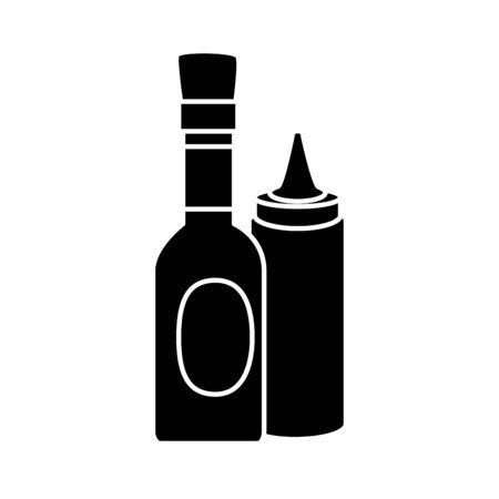 silhouette of set of delicious sauces isolated icon vector illustration design  イラスト・ベクター素材
