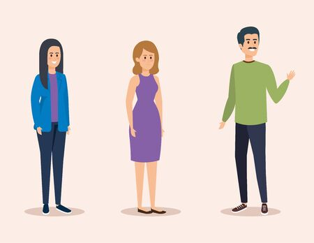 set girls and boy with casual clothes vector illustration