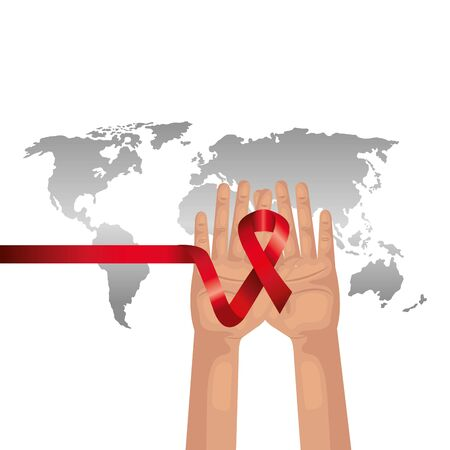 hands with aids day awareness ribbon and planet earth vector illustration design