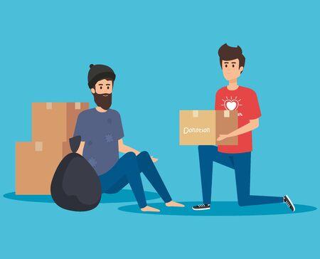 boy volunteer with box donation to indigent vector illustration