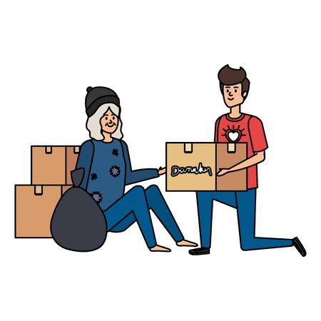 man volunteer giving a homeless woman donations box vector illustration design