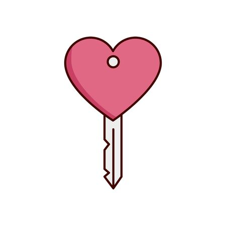 valentines day key with heart isolated icon vector illustration design Foto de archivo - 136191198