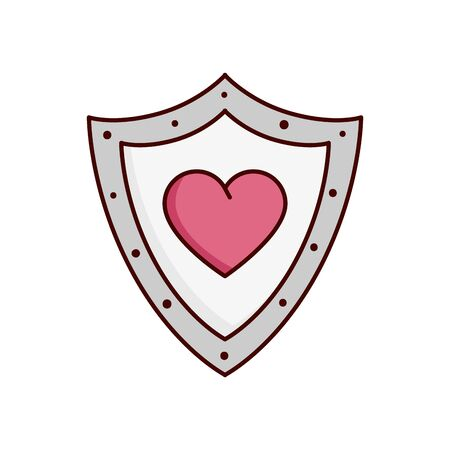 valentines day shield with heart isolated icon vector illustration design Ilustração