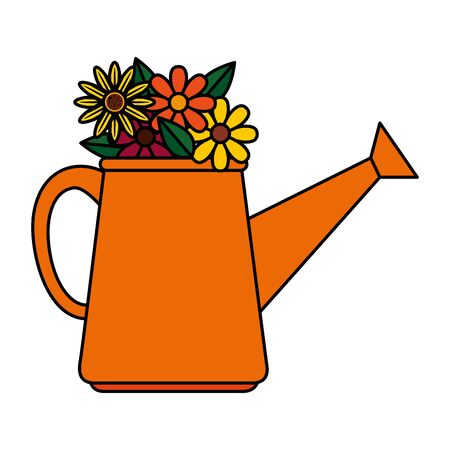 sprinkler pot with flowers vector illustration design