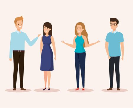set of women and men with casual clothes and hairstyle vector illustration