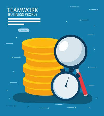 Coins chronometer and lupe design, Teamwork businesspeople support collaborative cooperation work unity and idea theme Vector illustration
