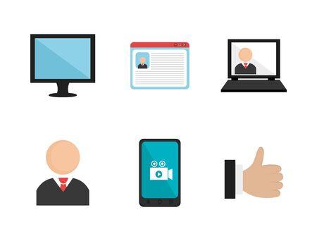 bundle social media set icons vector illustration design Ilustração