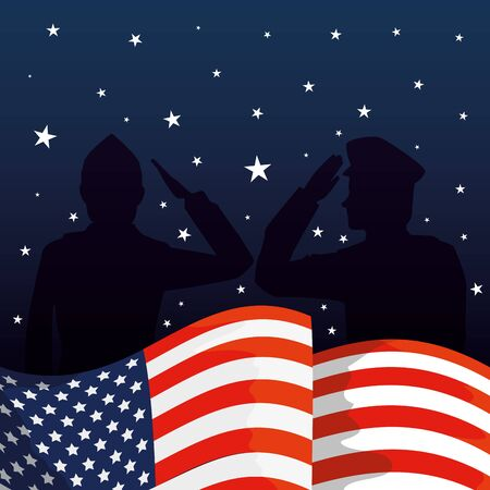 military men silhouettes with usa flag vector illustration design Illustration