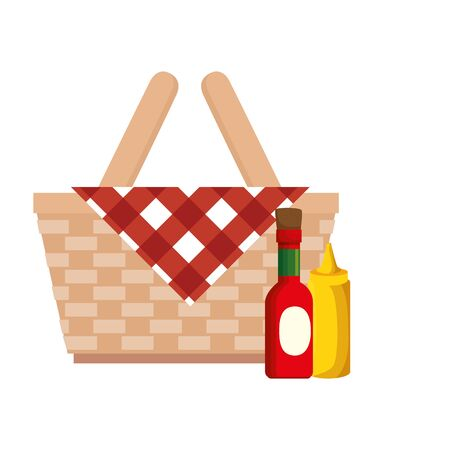 basket wicker picnic with bottles sauces isolated icon vector illustration design
