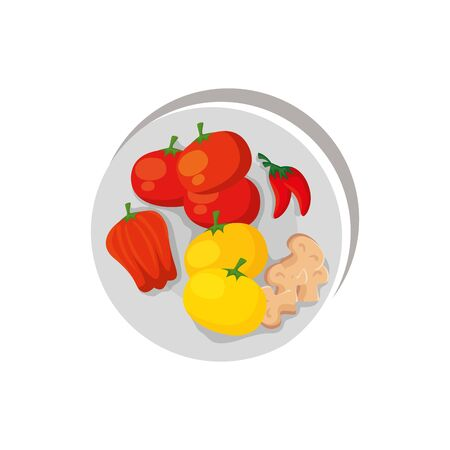 set of vegetables in dish isolated icon vector illustration design