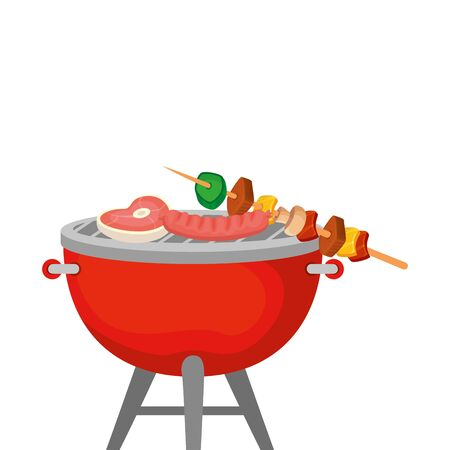 oven barbecue with food isolated icon vector illustration design