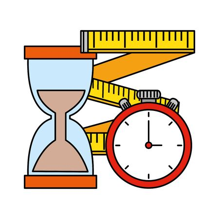 tape measure with chronometer and hourglass vector illustration design 向量圖像