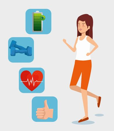 woman with battery with dumbbells and good sign hand vector illustration