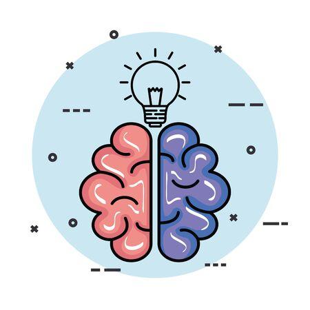 Cerebro de salud con ilustración de vector de idea de bombilla creativa