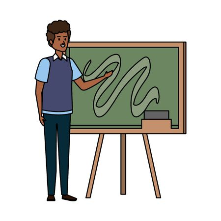 young black teacher male with chalkboard character vector illustration design