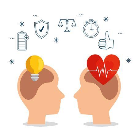 silhouette men head with bulb idea and heartbeat vector illustration Ilustrace
