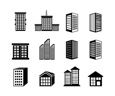 bundle buildings facade isometric icons vector illustration design 向量圖像