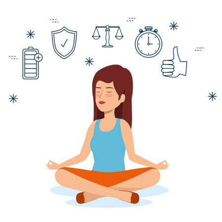woman relaxation to health lifestyle balance vector illustration Ilustração