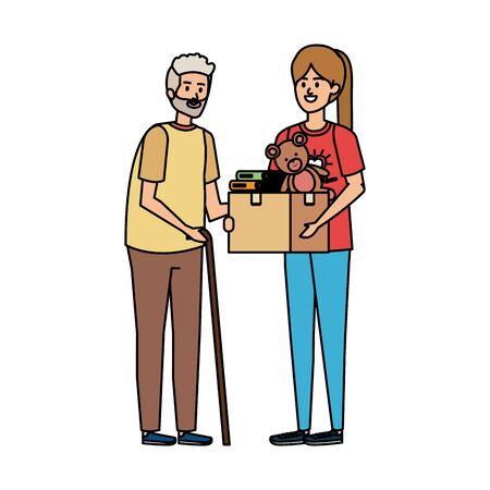 woman volunteer giving a old man donations box vector illustration design