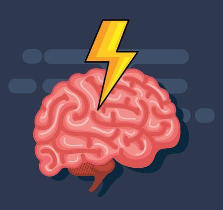 Cerebro de salud con truenos a la ilustración de vector de mente creativa