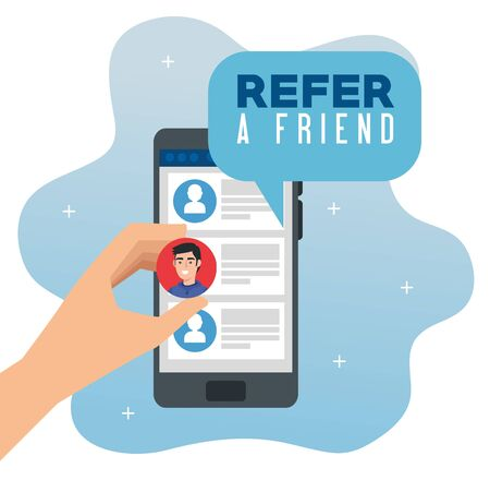 poster of refer a friend with hand using smartphone vector illustration design 向量圖像