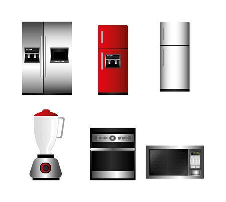 bundle home appliances kitchen set icons vector illustration design