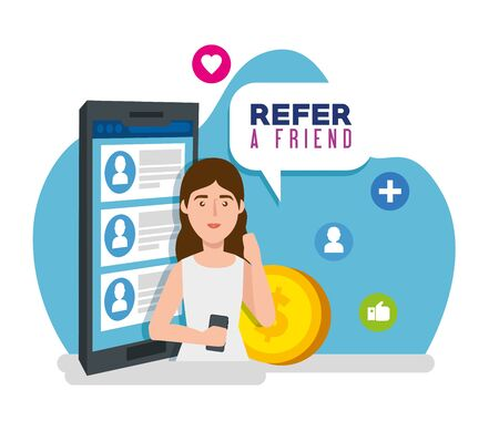 poster of refer a friend with young woman and smartphone vector illustration design 向量圖像