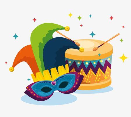 joker hat with mask decoration and drum to carnival celebration vector illustration Ilustracja