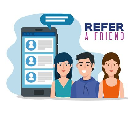 poster of refer a friend with young people and smartphone vector illustration design