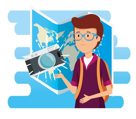 man wearing glasses with camera and global map vector illustration  イラスト・ベクター素材