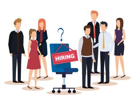 professional businesswomen and businessmen with hiring job vector illustration Illustration