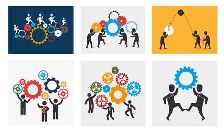 bundle silhouette of teamwork and icons vector illustration design 向量圖像