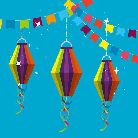 bannière de fête avec des lanternes suspendues à l'illustration vectorielle festa junina