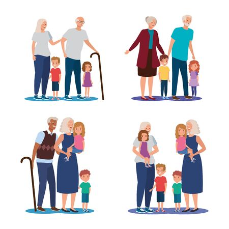 scenes of grandparents with grandchildren avatar character vector illustration design 向量圖像