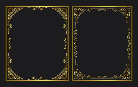 set of elegant golden ornamental frames vector illustration design