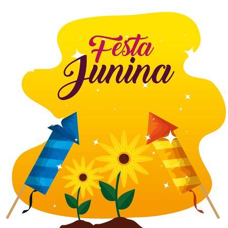 plantes tournesols avec feux d'artifice à festa junina vector illustration