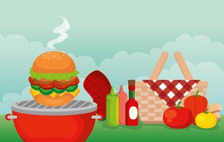 grill menu with delicious food in picnic scene vector illustration design